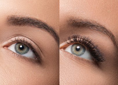 Eyes before and after eyelash extension